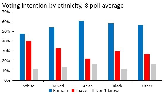 Voting intention by ethnicity